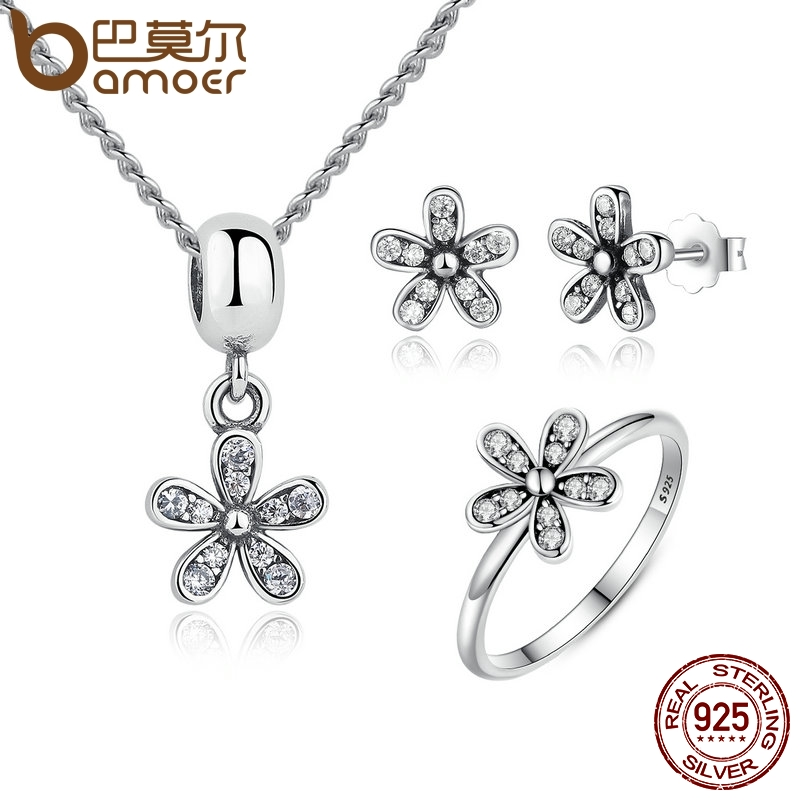 BAMOER Genuine 925 Sterling Silver Jewelry Set Dazzling Daisy & Clear CZ Bridal Jewelry Sets Sterling Silver Jewelry ZHS015
