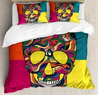Sugar Skull Decor Duvet Cover Set, Colorful Calavera Themed Artwork Catrina Day of the Dead Mexican Culture 4 Piece Bedding Set