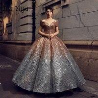 Это YiiYa новые золотые и серебряные постепенное Цвет Свадебные платья суд Мечтая Bling блестками свадебное платье De Novia H001