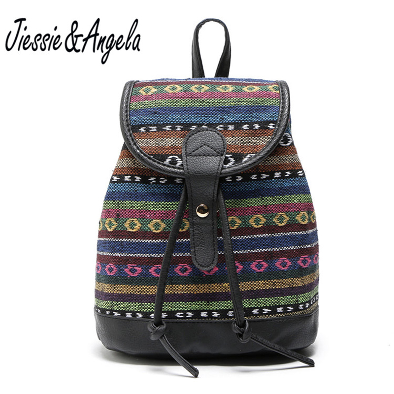 Jiessie & Angela Vintage National Embroidery Backpacks Teenage Girls Backpack  Women Bag Canvas Women Backpack Mochilas Mujer vintage embroidery women flats chinese floral canvas embroidered shoes national old beijing cloth single dance soft flats