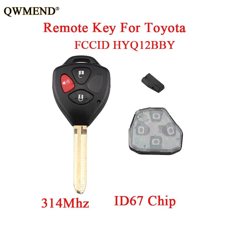 QWMEND Complete-Remote-Key 4d67-Chip HYQ12BBY Rav4 Toyota 2007 Original Keys 3buttons