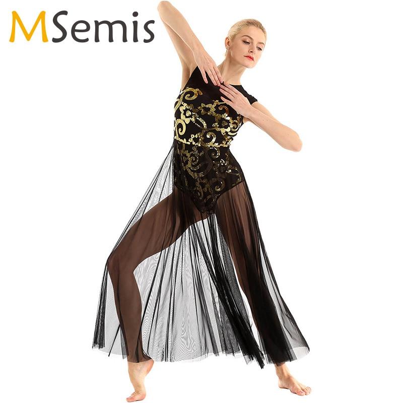 Women Lyrical Dress Dance Costume Sleeveless Floral Sequins Tank Leotard Maxi Dress For Lyrical Modern Contemporary Dance Dress