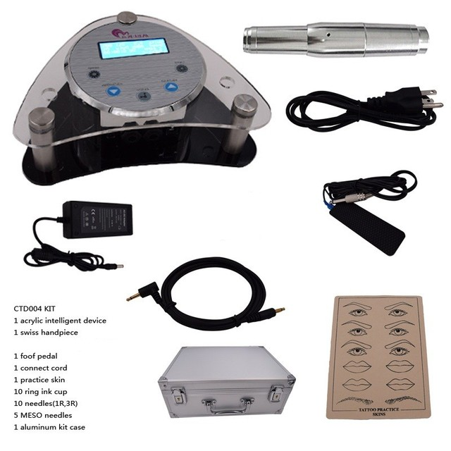 2016 High quality Digital Intelligent Permanent Makeup eyebrow lip machine Kit swiss motor gun + power supply + needles Hot Sale