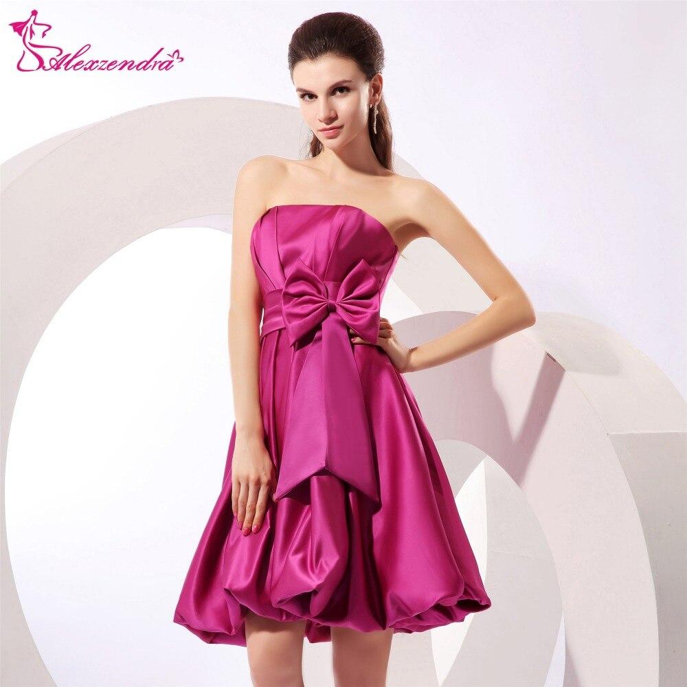 Alexzendra Strapless Satin A Line Mini   Prom     Dresses   Simple Party   Dresses   Plus Size