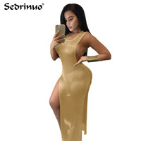 2016 Summer Sexy Sheath Sleeveless V Neck High Waist Solid Gold Dress Women Bodycon Club Party