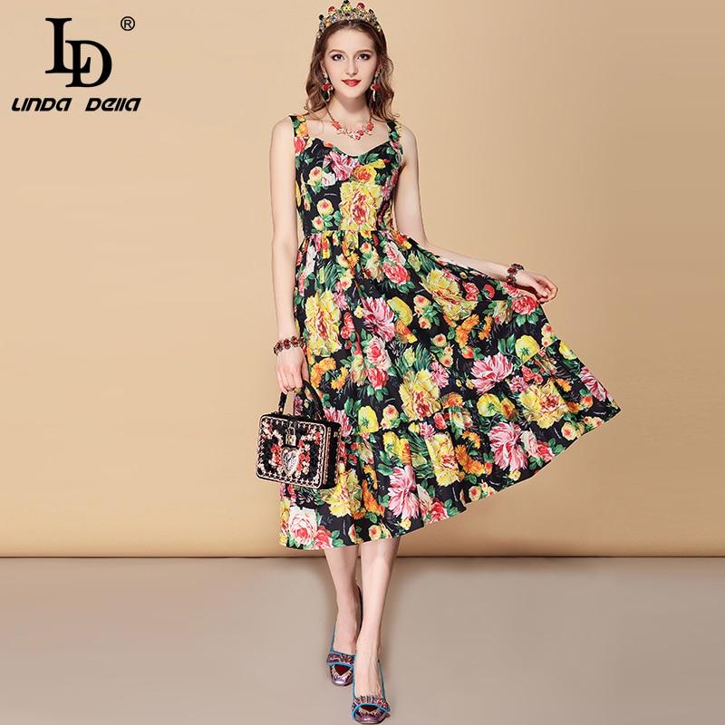LD LINDA DELLA New Fashion Runway Summer Dress Women s Spaghetti Strap V Neck Ruffles Floral