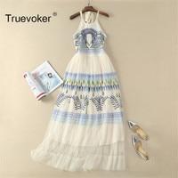 Truevoker Designer Summer Long Dress Women Abstract Geometric Embroidery Halter Neck Nude Lace Resort Maxi Dress