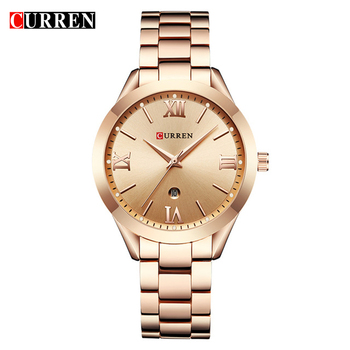 CURREN Simple Fashion Stainless Steel Analog Quartz Wrist Watch Calendar Female Dress Watch Women Clock Relogio Feminino 9007 дамски часовници розово злато