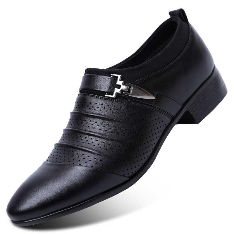 Mùa Hè 2019 Xăng Đan Nam Cao Cấp Thương Hiệu Trơn Trượt Trên Giày Oxford Cho Nam Mũi Nhọn Đầm Giày Cưới Da Giày người Ý