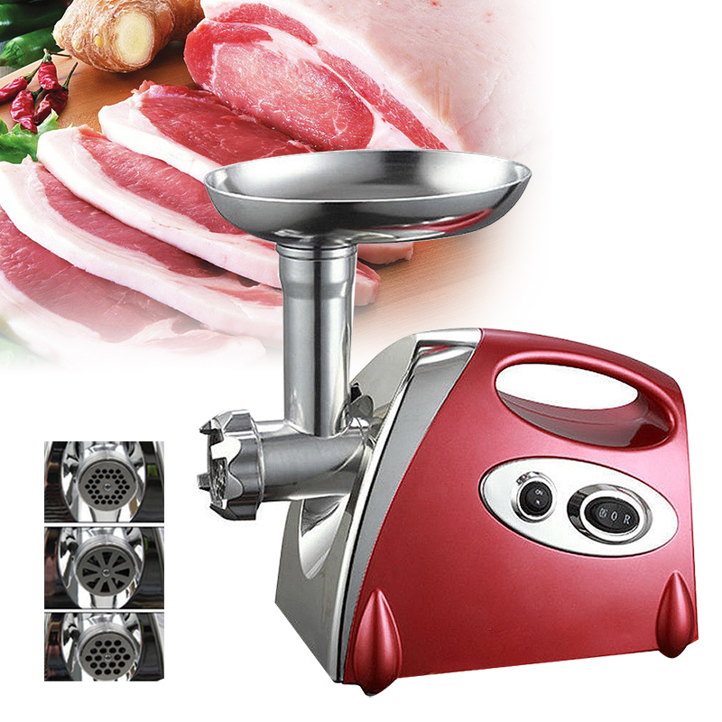 1000W Home Electric Meat Grinder Sausage Stuffer Stainless Steel Mincer Maker Silver Meat Fish Cutter Cutting Machine me01 stainless steel sausage maker manual 10l meat grinder meat mixer meat blender