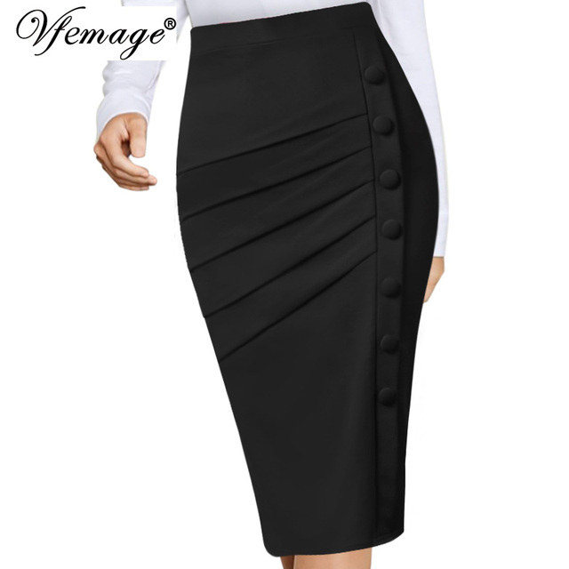 b893fe03cd Vfemage Womens Elegant Retro Pleated Ruched Side Buttons High Waist Work  Office Business Casual Party Bodycon Pencil Skirt 10090