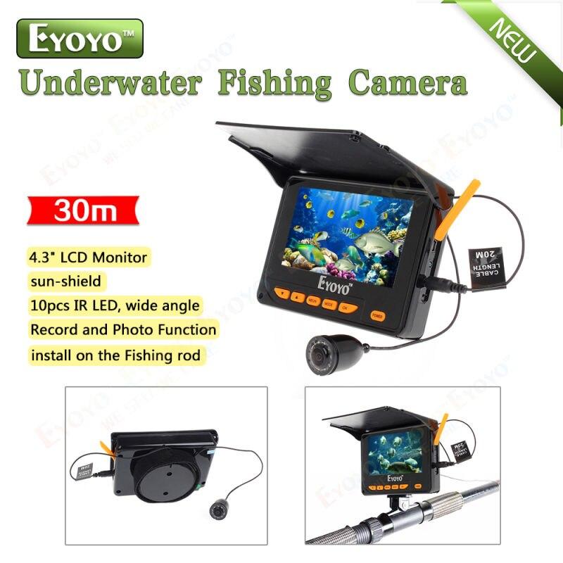 Eyoyo 4 3 monitor 30m hd 150degrees 10pcs ir led for Underwater ice fishing camera
