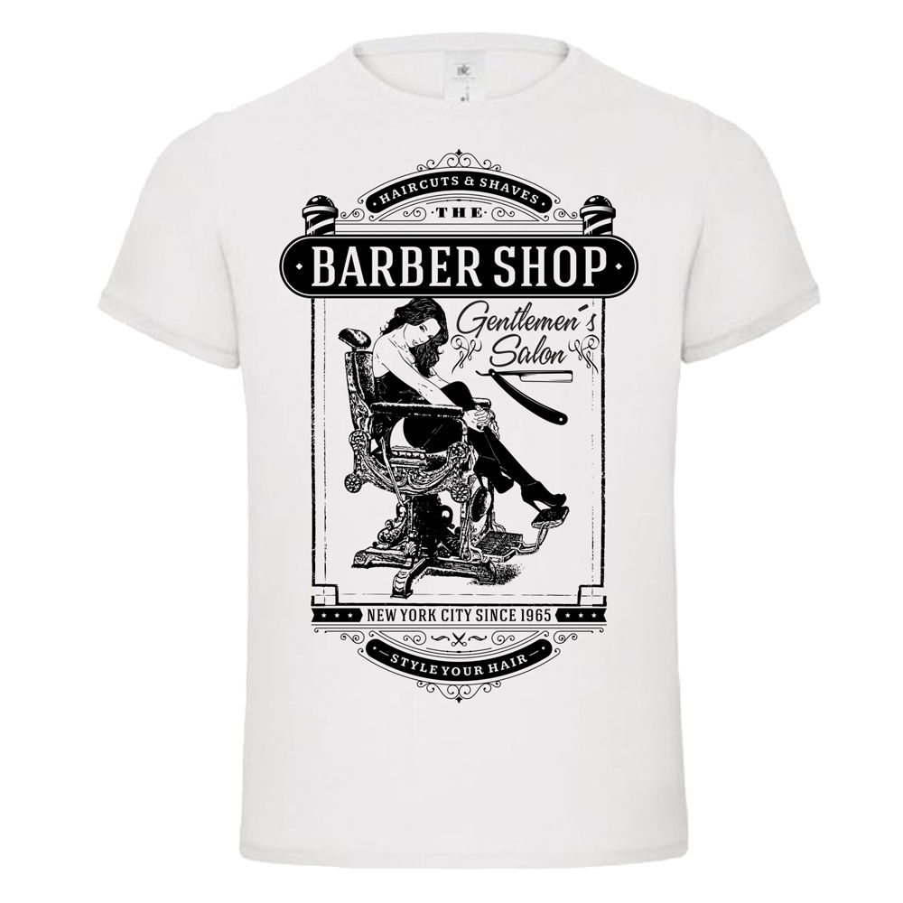 barber shop chair pin up razor shave vintage gentlemen classic tshirt tee dtg Loose Black Men T shirts Homme Tees
