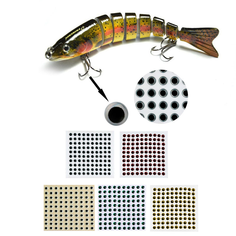100pcs 3-9mm Fish Eyes 3D Holographic Lure Eyes Fly Tying Jigs Crafts Dolls 5sheets pack 10cm x 5cm holographic adhesive film fly tying laser rainbow materials sticker film flash tape for fly lure fishing