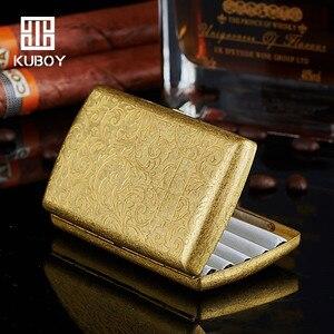 Hongkong Kuboy New Fashion Pocket 12 Cigarette Case Boxes Pure Copper Tang Grass Cross Brass Cigarette Boxes Holders Smoking Box(China)