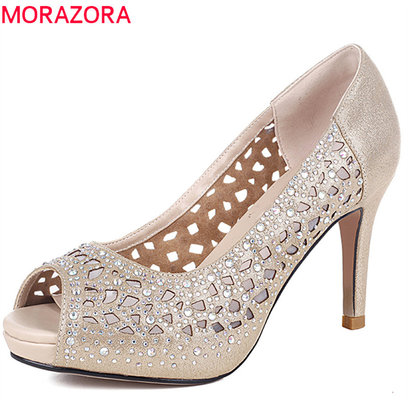 MORAZORA 2018 top quality genuine leather shoes crystal peep toe summer shoes shallow pink women pumps wedding high heels shoes morazora large size 34 48 2018 summer high heels shoes peep toe sweet wedding shoes shallow women pumps big size platform shoes