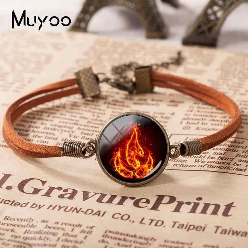 2019 nuevo Avatar el último maestro aire fuego nación pulsera de cuero mano artesanía pulseras vidrio cabujón joyería