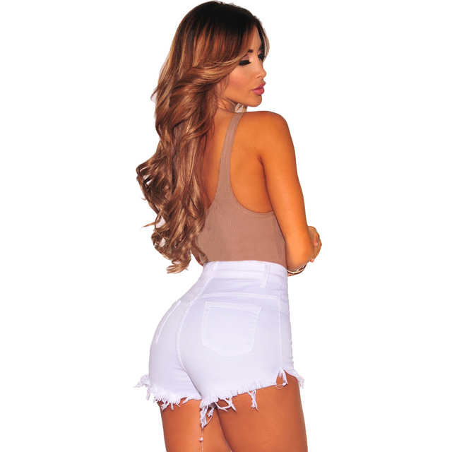 Liooil Black White Red Denim Shorts 2017 Cotton High Waisted Fashion Button Pockets Skinny Women Shorts Summer Sexy Jean Shorts
