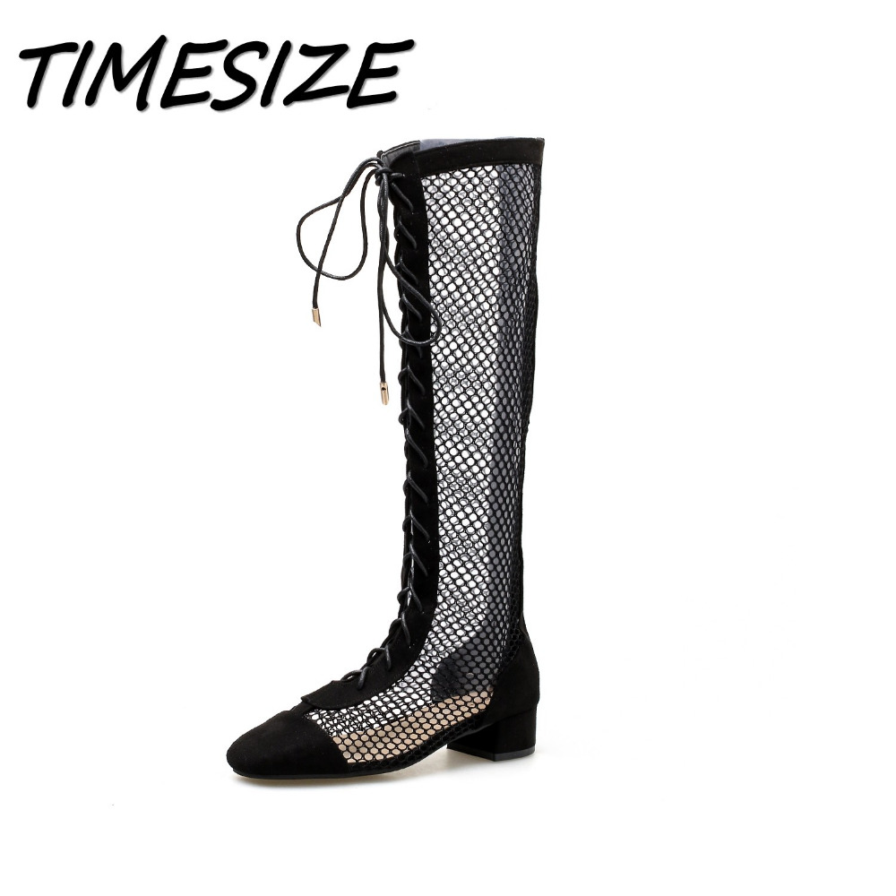 TIMESIZE Summer Women Square heel Gladiator Sandals boots Woman Knee High Square head Long Boots Female Mesh Hollow out Shoes