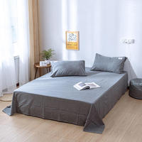 Solid Color Washed Cotton Bed Sheet Queen King Full Size Flat Sheet Pillowcase Bedspread Bed Cover Set Bedspreien 245*250CM