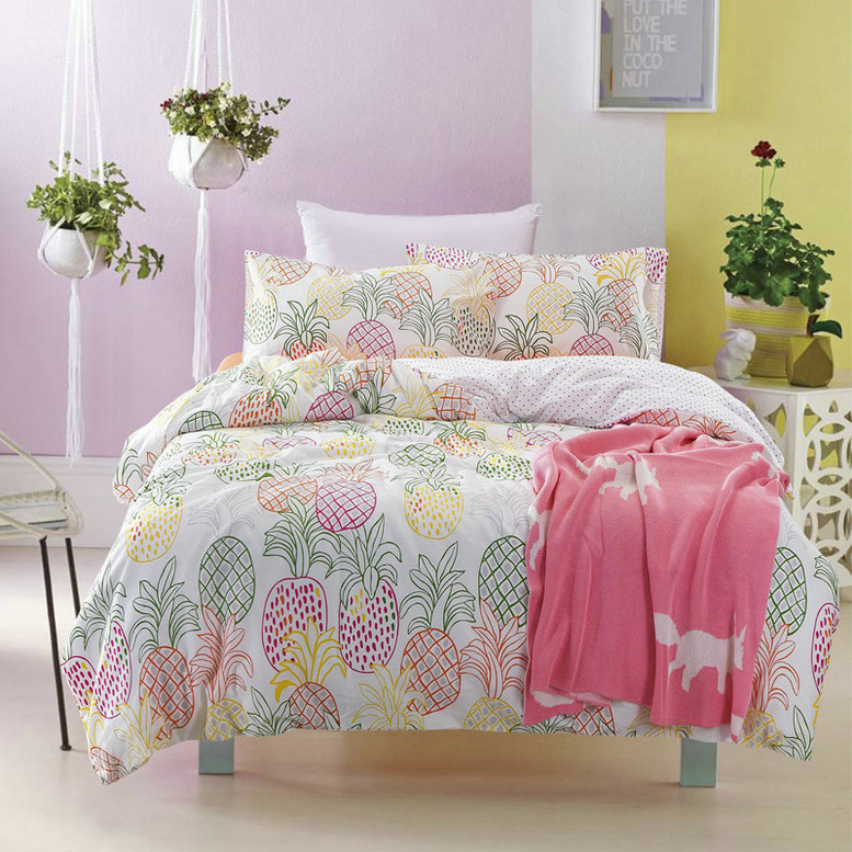 cotton pineapple bedding set duvet cover bed set twin fruits bedding set queen pineapple pillowcase america