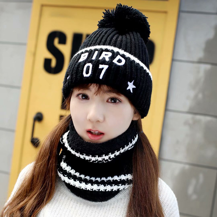 Women's Autumn Winter Hat Scarf Knitted Embroidery Letter Hat Caps Wool Warm Scarf Thick Windproof Hat And Scarf Set For Women