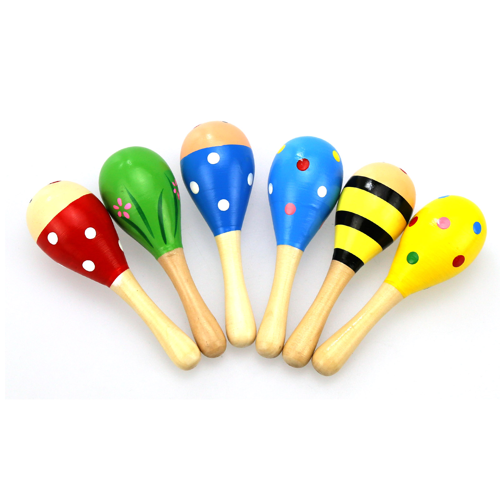 1PC Baby Wooden Ball Toys Baby Rattles Sand Hammer Musical Toy Instrument Sound Maker Baby Attetion Training Toy