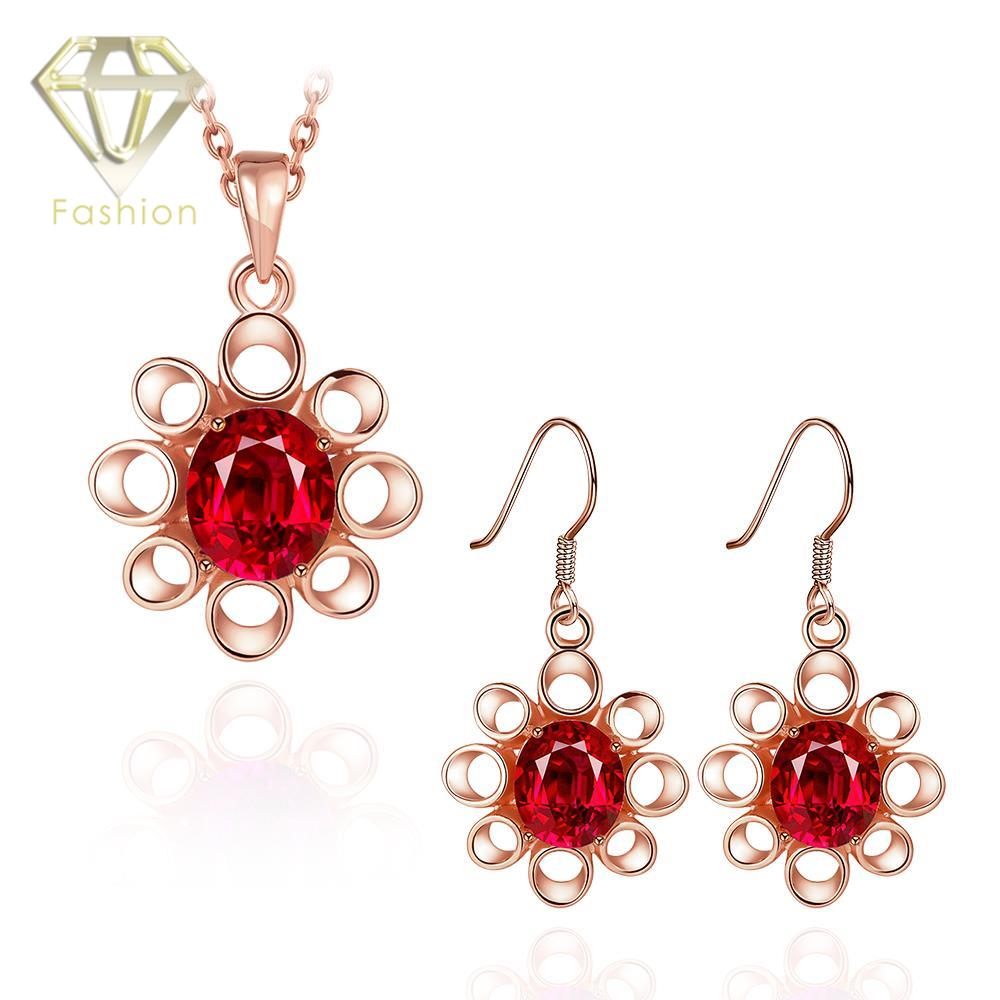 Bridal classics necklace sets mj 259 - Snowflake Pendant Inlaid Red Blue Crystal Necklace Earrings Classic Rose White Gold