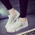 Mujeres Casual Zapatos de Malla de Aire Suave Baratos Con Cordones de Pisos A Pie sólido Zapatos Transpirable Zapatillas 2016 Nuevo Otoño Más El Tamaño de EE. UU. 9