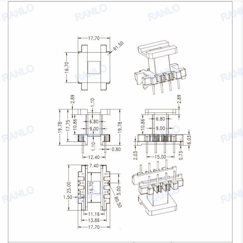 transformer core inductor coil WQ 5set PC40 EE25 5+5pins Ferrite Cores bobbin