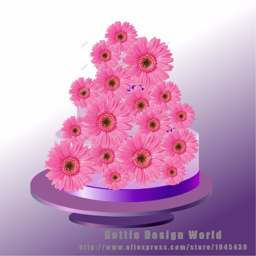 25 Mixed Pink Daisy Flower Edible Cake Topper Wafer Rice Paper