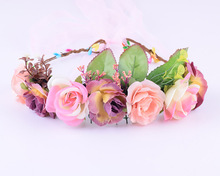 CXADDITIONS Adjustable Rose Peony Flower Bridal Floral Crown Hair Band Head band Wreath Wedding Headpiece Bridesmaid Women Girl