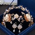 Урожай европейский стиль барокко жемчуг золото невесты ленты для волос головные уборы набор жемчужина короны, тиары + колошения
