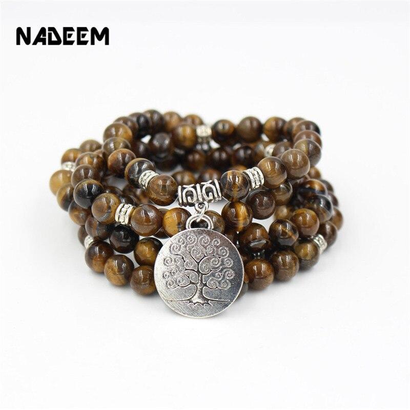 NADEEM Mode 110 stücke Natürliche 8mm Tiger Eye Stein Mala Bead Armband Halskette Elastische Yoga Strang Perlen Armband Halskette schmuck