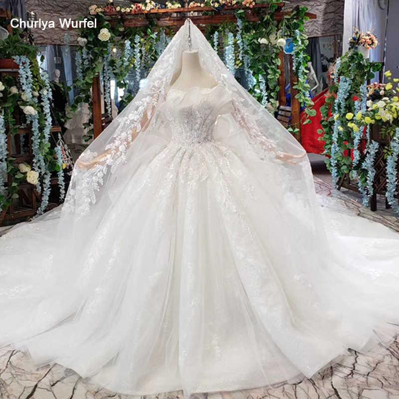 HTL496 דובאי נסיכת חתונת שמלות עם לפרוע ארוך רכבת מיוחד סטרפלס שמלות כלה עם רעלה vestido דה noiva