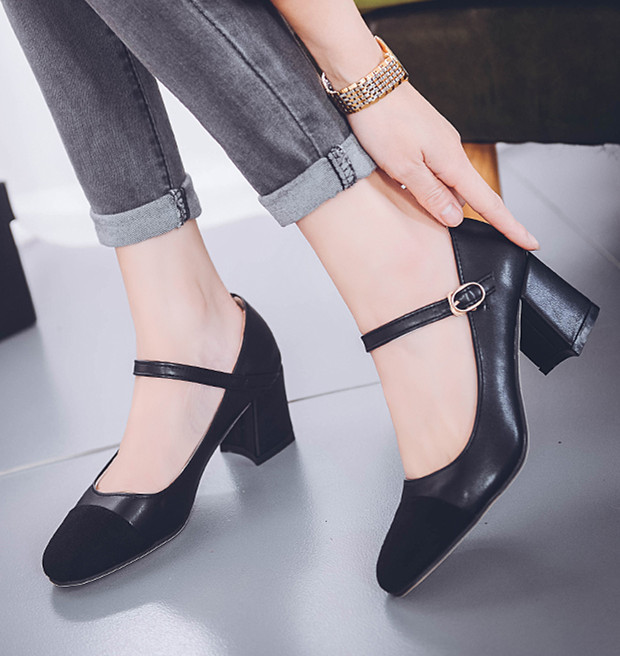 Brand design Mary Janes shoes woman buckle high heeled women vintage autumn pumps ladies heels