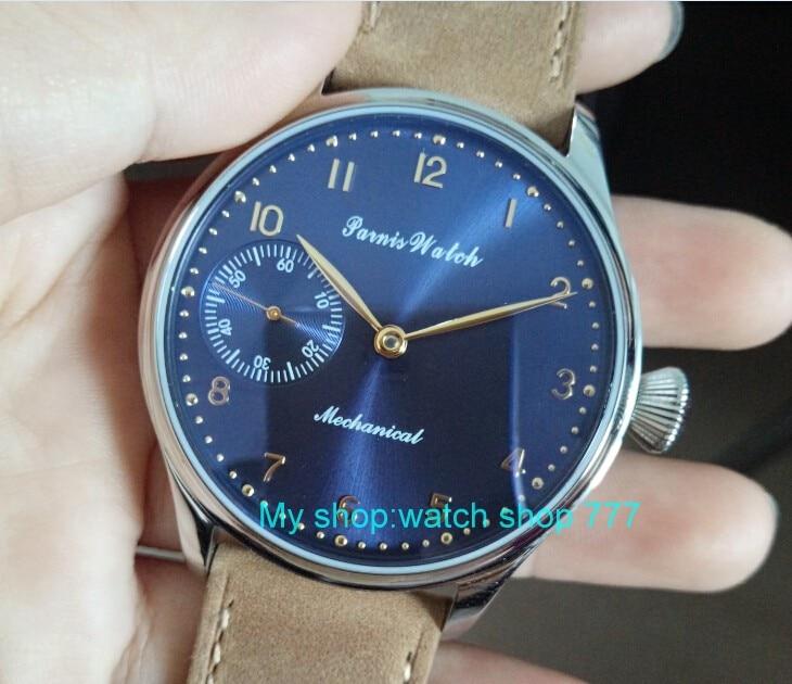2017 new fashion PARNIS 44mm blue dial 6497 Mechanical Hand Wind  movement men's watch Mechanical watcheswholesale x00038a домкрат белак бак 00038 50т