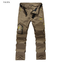 FALZIA New Brand Removable Men Cargo Pants With Zipper Pockets Summer Quick Dry Tourism Trouser Male Casual Pants Belt 6XL CK107