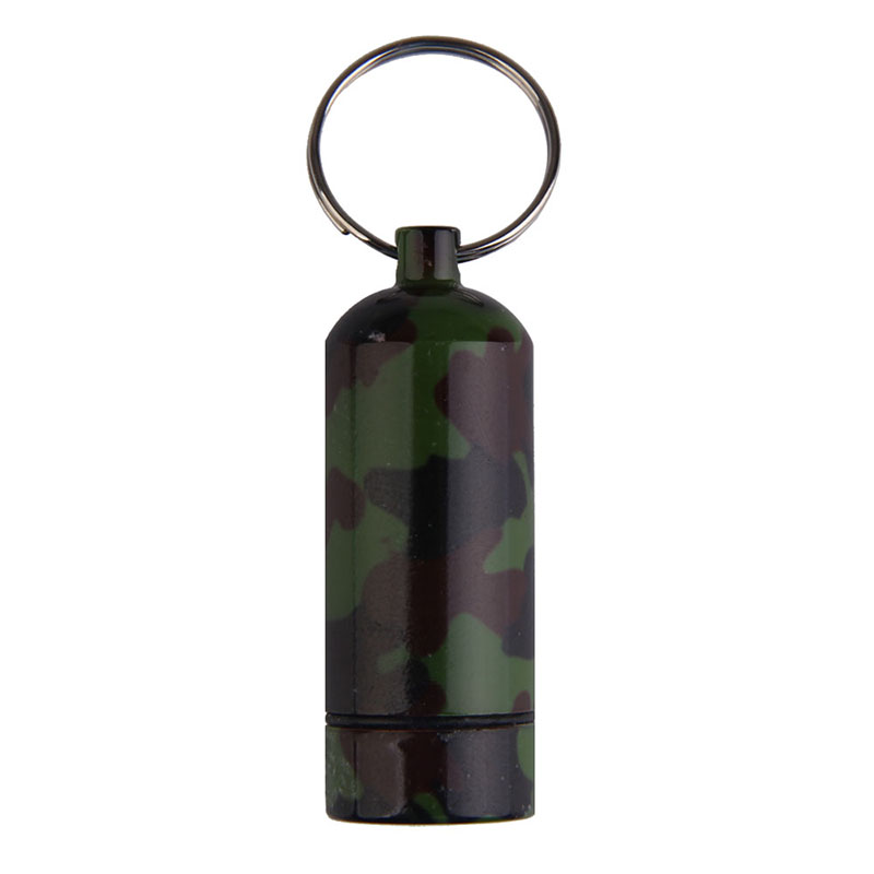 1 Pcs Multifunctional Waterproof Pill Case Camouflage Print Aluminum Alloy Outdoor First Aid Small Gallipot Keychain Pillbox SS