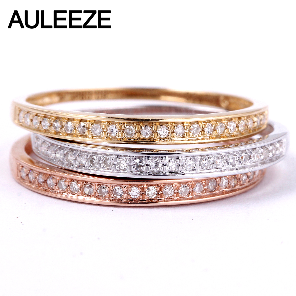 AULEEZE Classic Solid 18K Gold Real Diamond Wedding Band 750 White Gold Anniversary Rings For Women