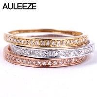 AULEEZE классический Solid 18 К золото настоящий бриллиант обручальное 750 белое золото кольца на годовщину для женщин дамы кольцо ювелирные украше