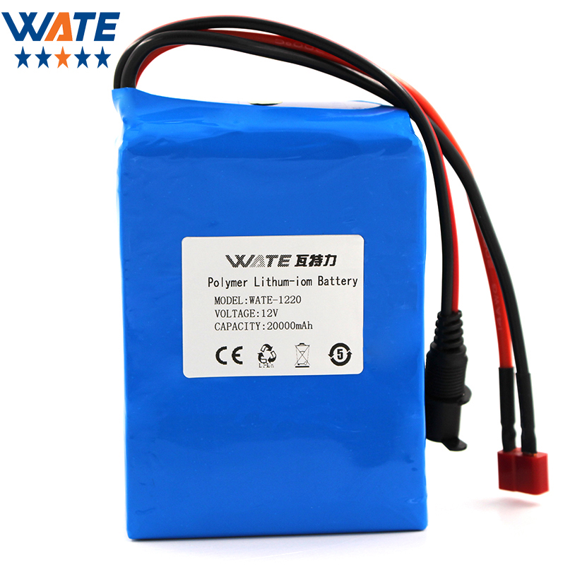 WATE 12V 20000mAh Li-ion battery pack DC 15A current discharge 12V li-ion polymer battery With 12.6V3A charger free customs taxes super power 1000w 48v li ion battery pack with 30a bms 48v 15ah lithium battery pack for panasonic cell