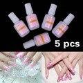 5 x 10 g uñas pegamento arte consejos Glitter acrílico de los Rhinestones decoración con cepillo de uñas esmalte de cola acrílica pegamento