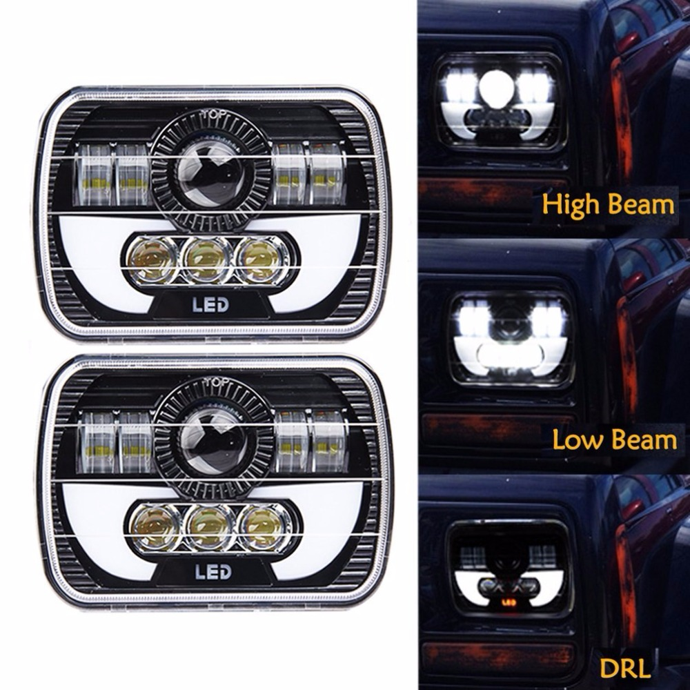 5x7 Auto DRL Led headlamp 5x7 Inch Led Truck Headlight 6x7 High Low beam Square Led headlight For Jeep Cherokee XJ pair square 5x7 inch led headlight daymaker sealed beam replacement truck light high low beam headlamp for jeep wrangler yj