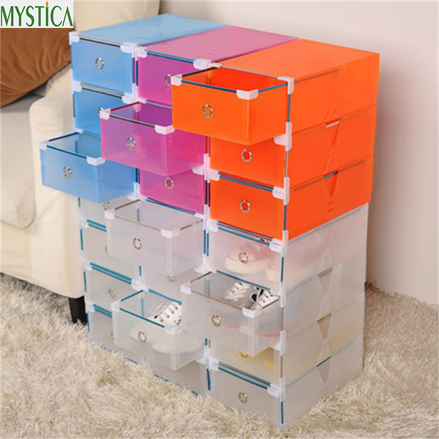 NEW5PCS Eco Friendly Shoe Storage Box Case Transparent Plastic Storage Box  Rectangle PP Shoe Organizer