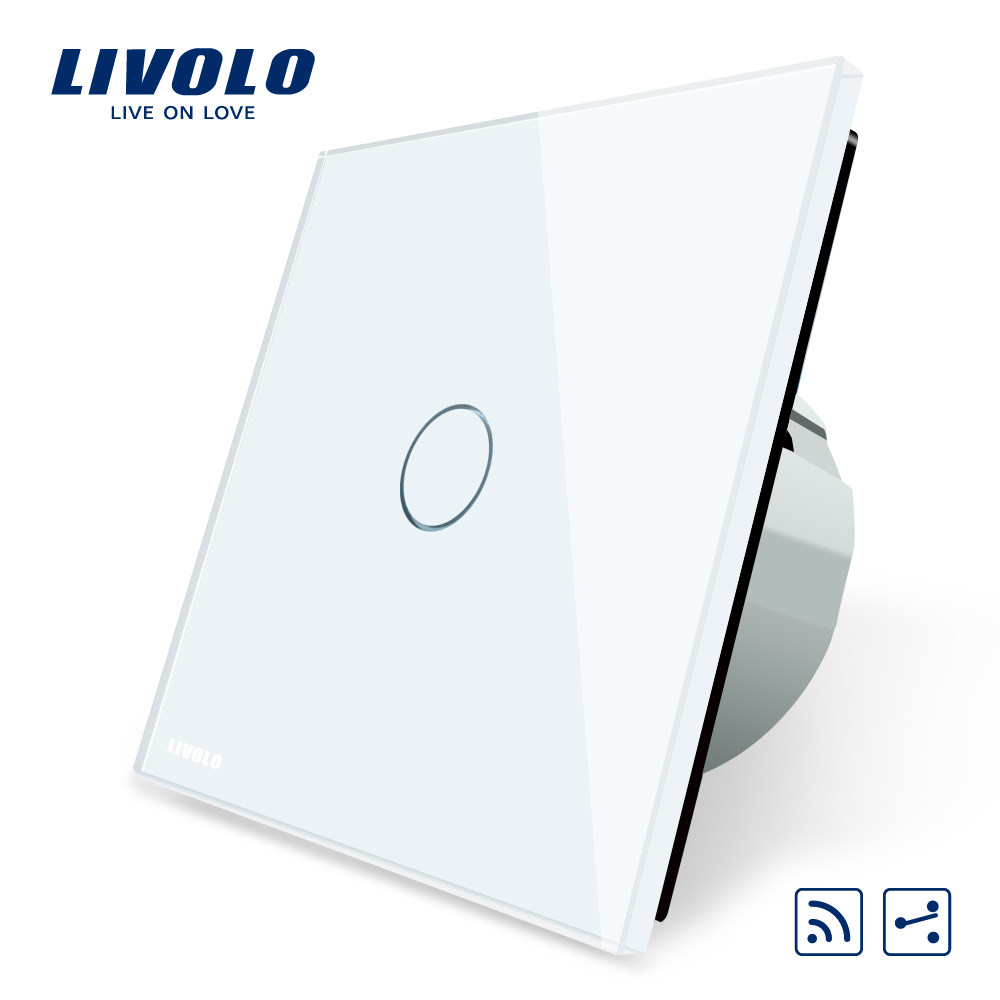 Livolo EU Standard Wireless Switch 1 Gang 2 Way, With Remote Function ,Touch Switch,VL-C701SR-1/2/5 livolo eu standard 1gang 2 way remote switch wireless switch vl c701sr 13 golden color glass without mini remote