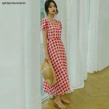 Robe Vintage Square Neck Puff Sleeve High Waist Slim A-Line Dress Women French Style Ladies Print Plaid Long Chiffon Dresses