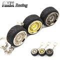AMK racing-Alumínio Para O Estilo Honda Chaveiro Chaveiro JDM roda ARO raios rodas + pneus De Borracha do Metal
