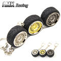 AMK racing-Aluminum For Honda Style  Keychain Keyring JDM RIM wheel rays Metal wheels+Rubber tires