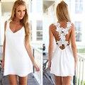 2016 Fashion Women Elegant Vintage Sweet Lace White Dress Sexy Casual Slim Beach Summer Sundress Vestidos Party Short Mini Dress